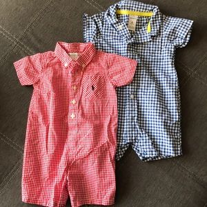 Two Plaid Rompers Size 6 Month